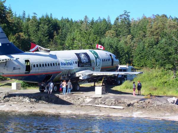artificial reef plane on beach before sinking - 737