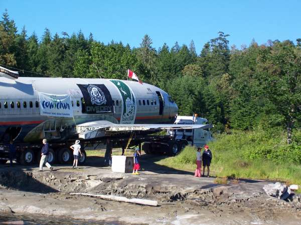 artificial reef plane on Thetis Island beach before sinking