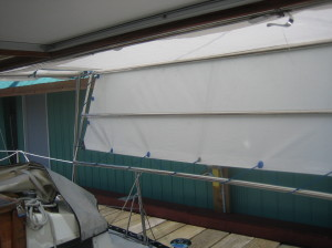 starboard bimini wing being deployed, view from cockpit