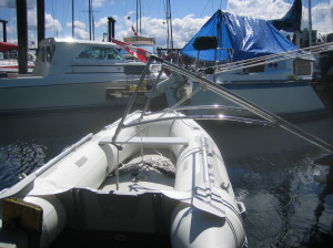 dinghy in lifting position - side view