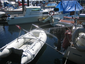 dinghy in lifting position - angled side view