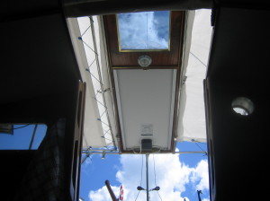center bimini roof panel holds solar array